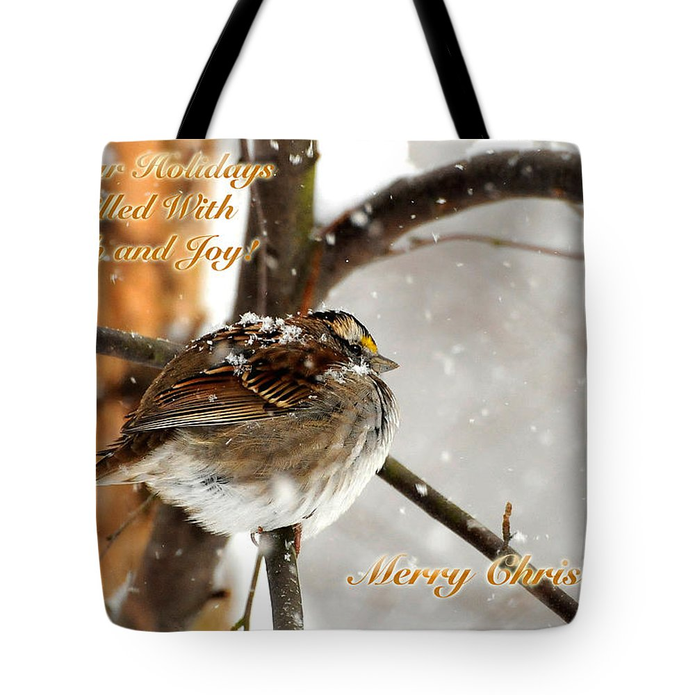 Christmas Tote Bag featuring the photograph Christmas Sparrow - Christmas Card by Lois Bryan