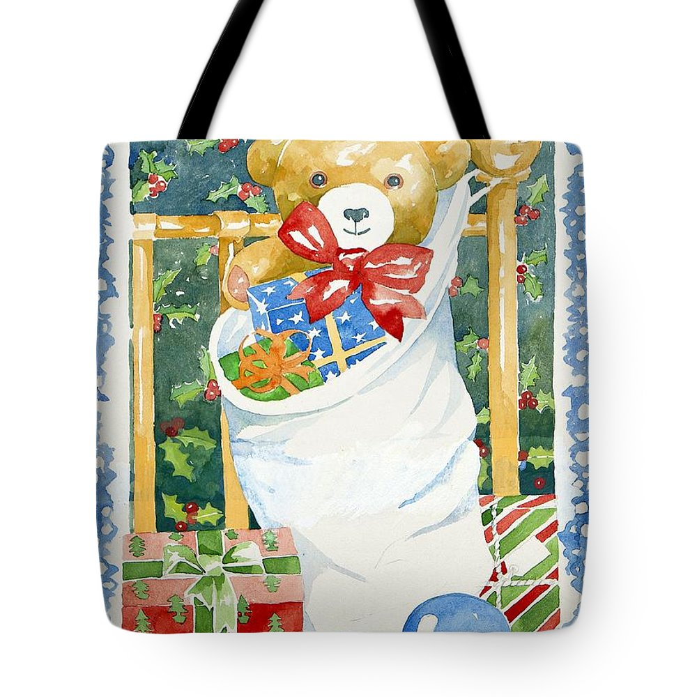 Teddy Tote Bag featuring the painting Christmas Stocking by Jennifer Abbot