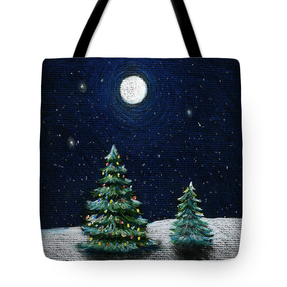 Christmas Trees Tote Bag featuring the drawing Christmas Trees In The Moonlight by Nancy Mueller