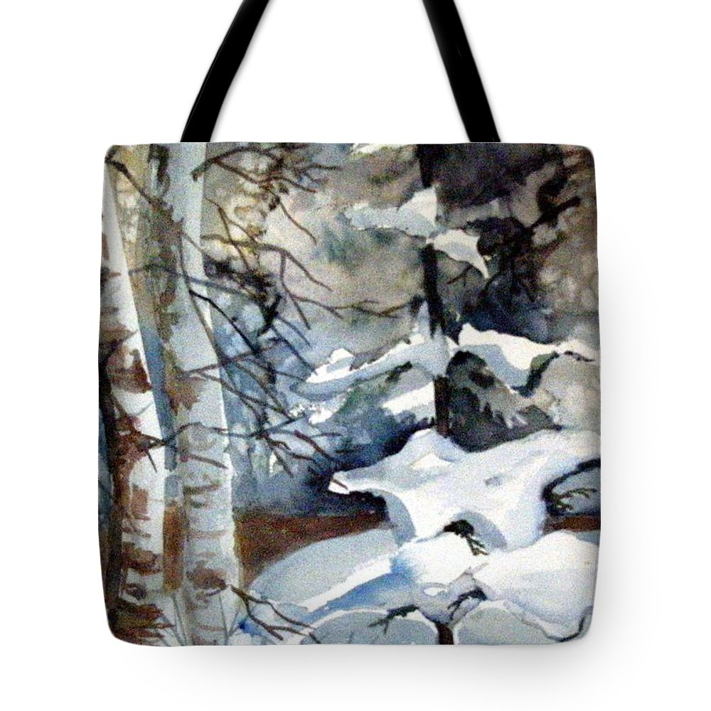 Christmas Trees Tote Bag featuring the painting Christmas Trees by Mindy Newman