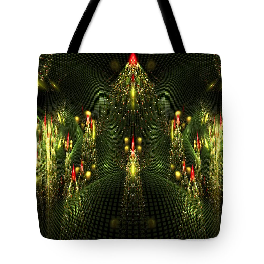 Elena Riim Tote Bag featuring the digital art Christmas Trees Pattern by Elena Riim