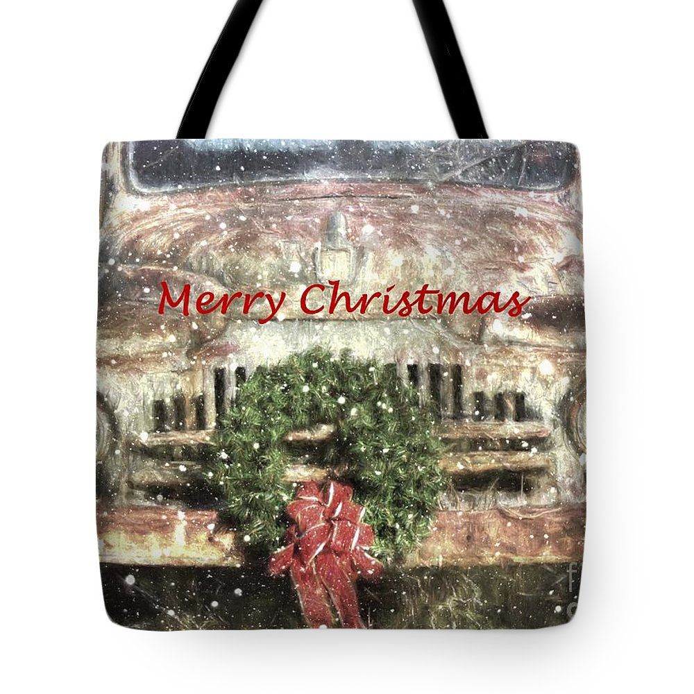Christmas Tote Bag featuring the photograph Christmas Truck by Benanne Stiens