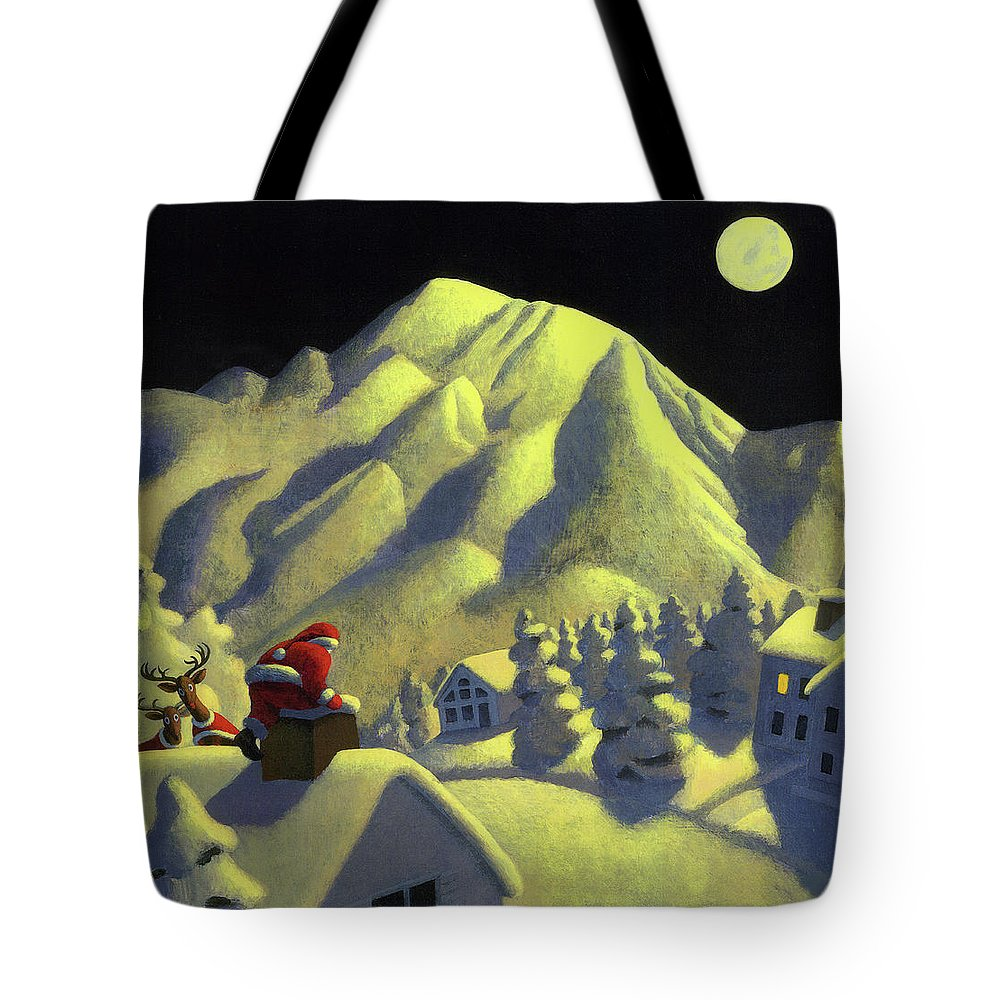 Christmas Tote Bag featuring the painting Christmas Under Olympus by Chris Miles