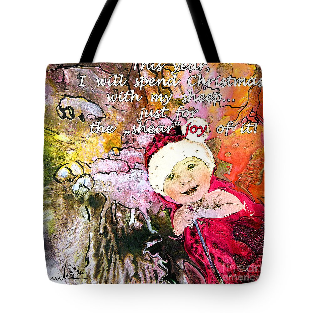 Acrylics Tote Bag featuring the painting Christmas With My Sheep by Miki De Goodaboom