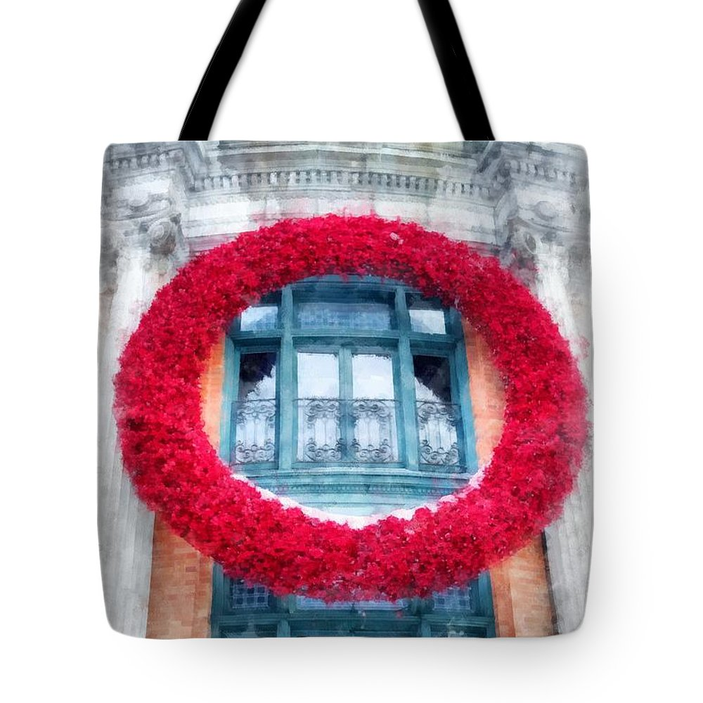 Quebec Tote Bag featuring the photograph Christmas Wreath Old Quebec City by Edward Fielding