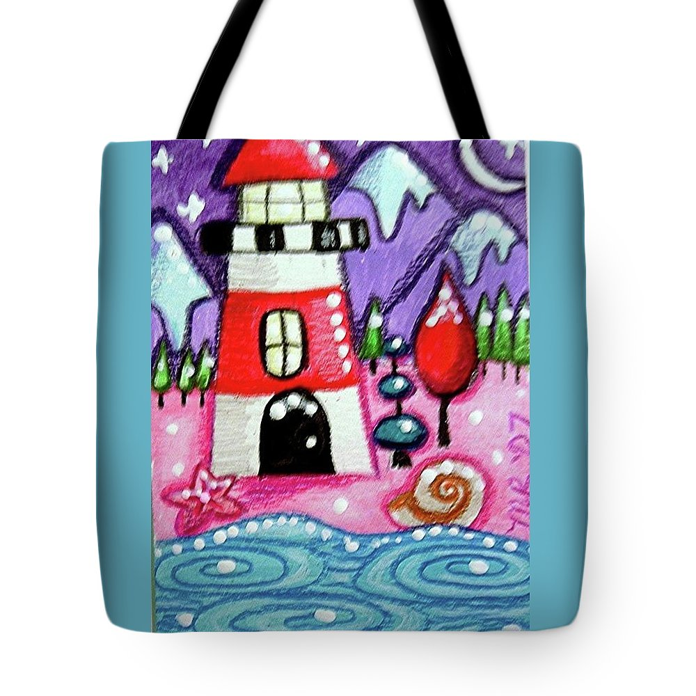 Lighthouse Tote Bag featuring the painting Christmasy Lighthouse by Monica Resinger