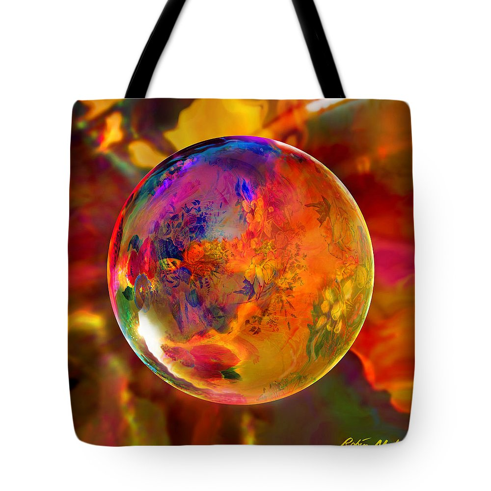 Flowers Tote Bag featuring the digital art Chromatic Floral Sphere by Robin Moline