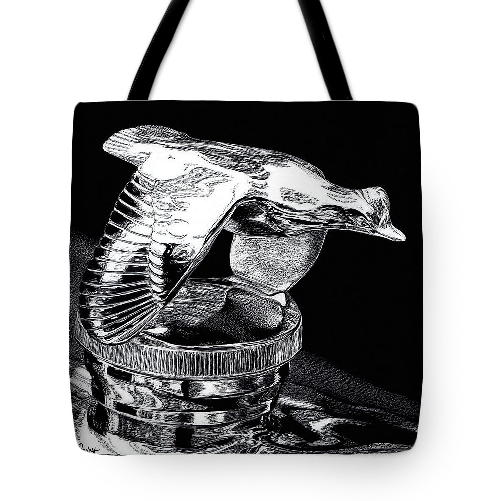 Chrome Tote Bag featuring the drawing Chrome In Flight by Ann Ranlett