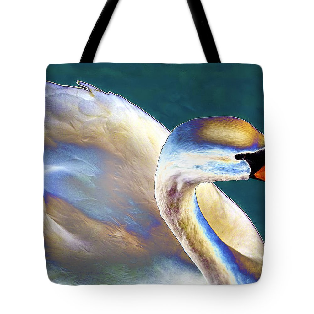 Swan Tote Bag featuring the photograph Chrome Swan by Robert Lacy