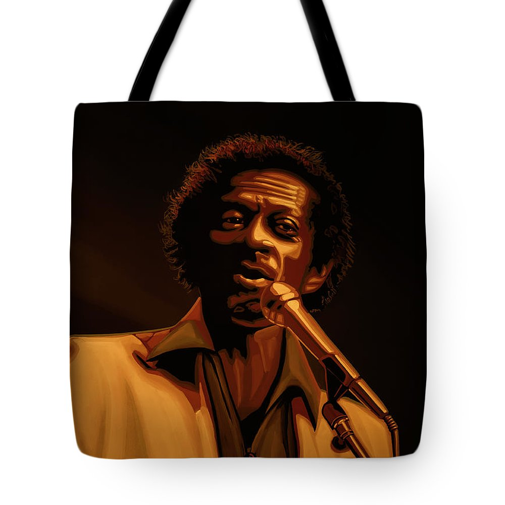Chuck Berry Tote Bag featuring the mixed media Chuck Berry Gold by Paul Meijering