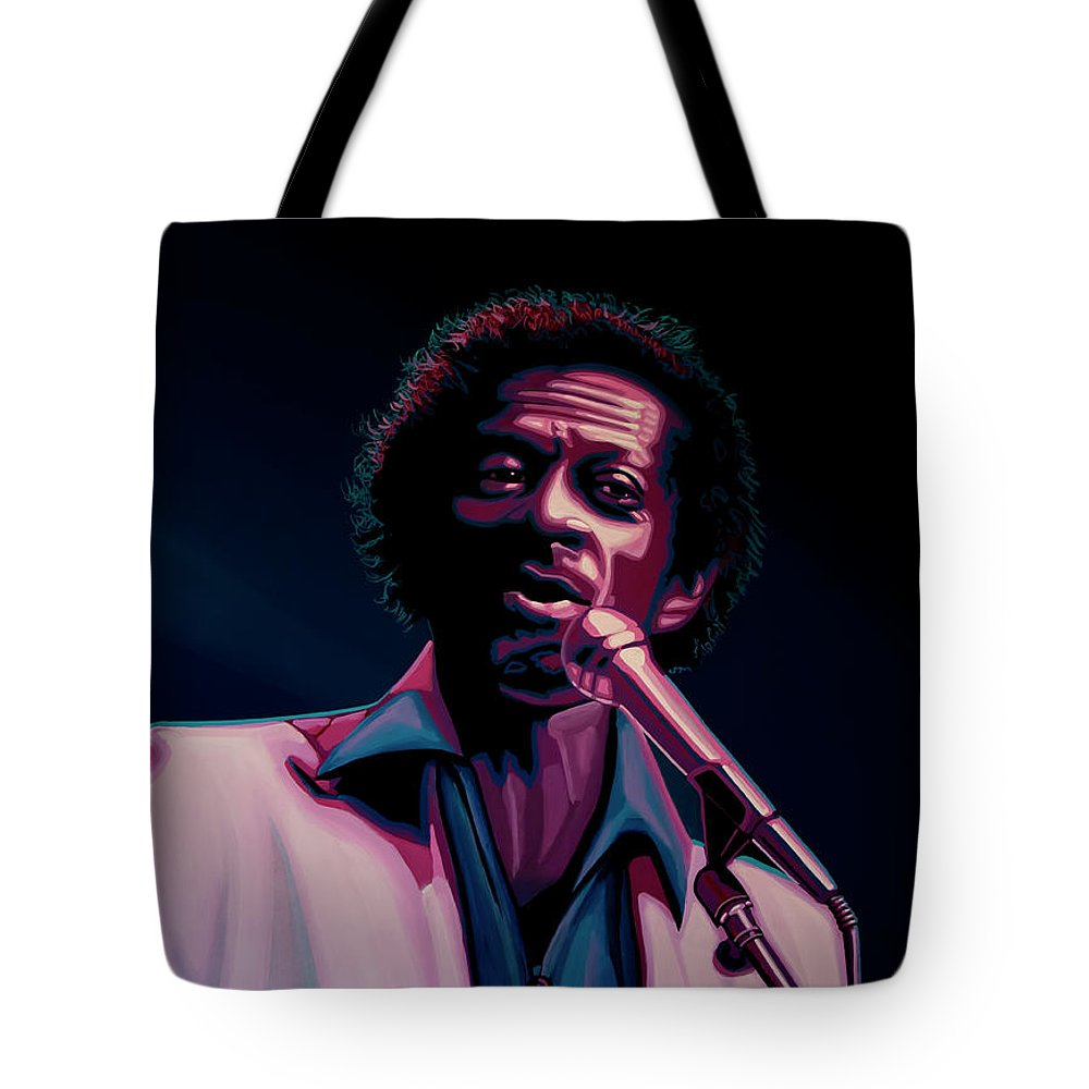 Chuck Berry Tote Bag featuring the painting Chuck Berry by Paul Meijering