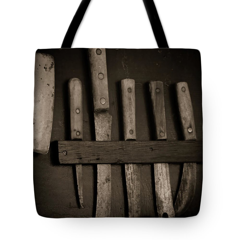Knives Tote Bag featuring the photograph Chuck Wagon Knives by Toni Hopper