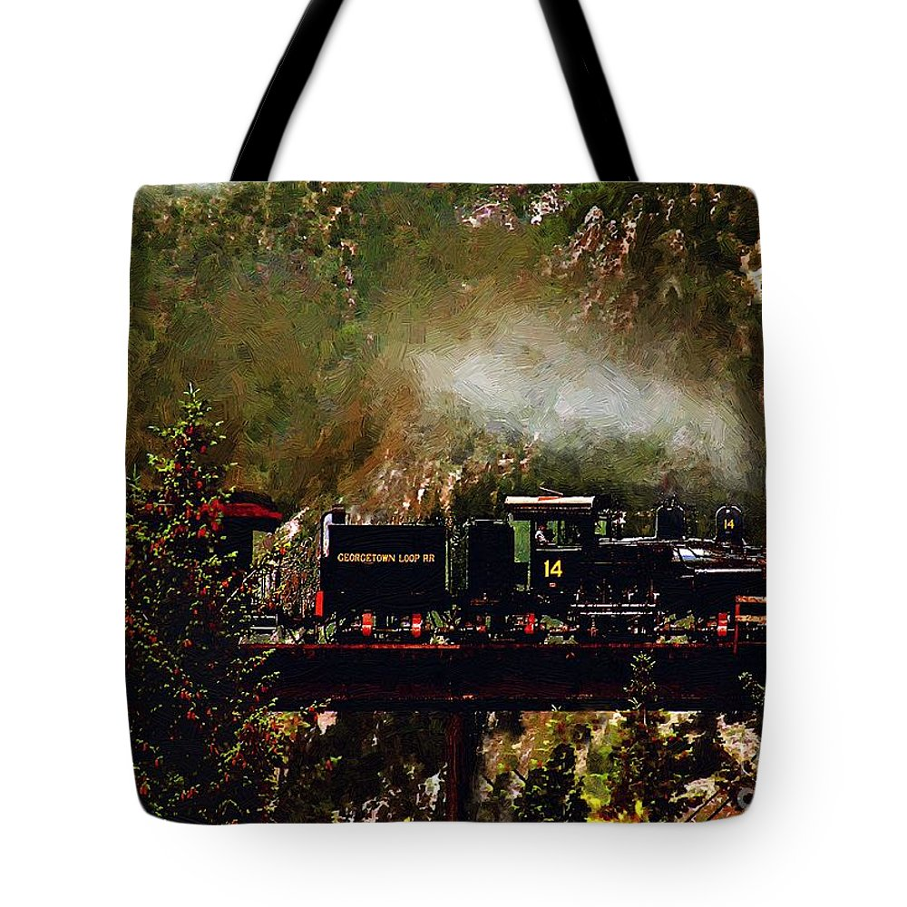 Americana Tote Bag featuring the painting Chugging Across The Devil's Gate by RC DeWinter