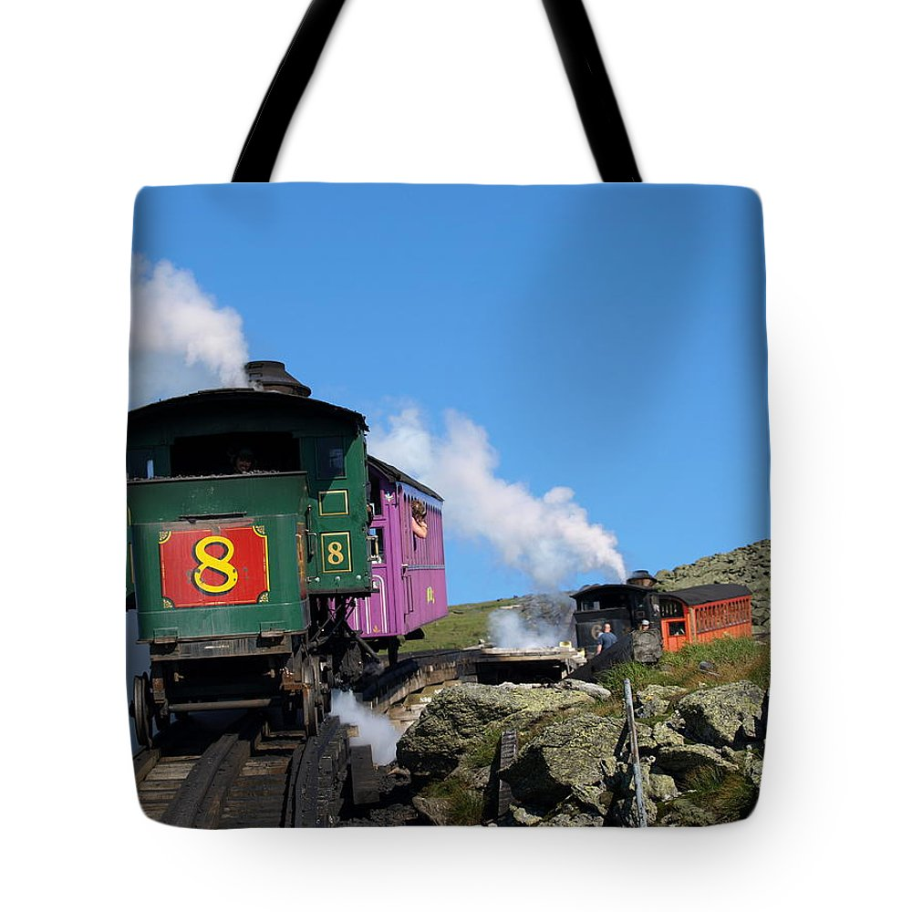 Trains Tote Bag featuring the photograph Chugging Up by Peter Gray