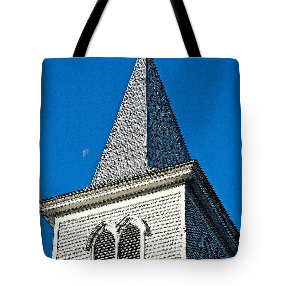 Architecture Tote Bag featuring the digital art Church Drawing by Dale Chapel
