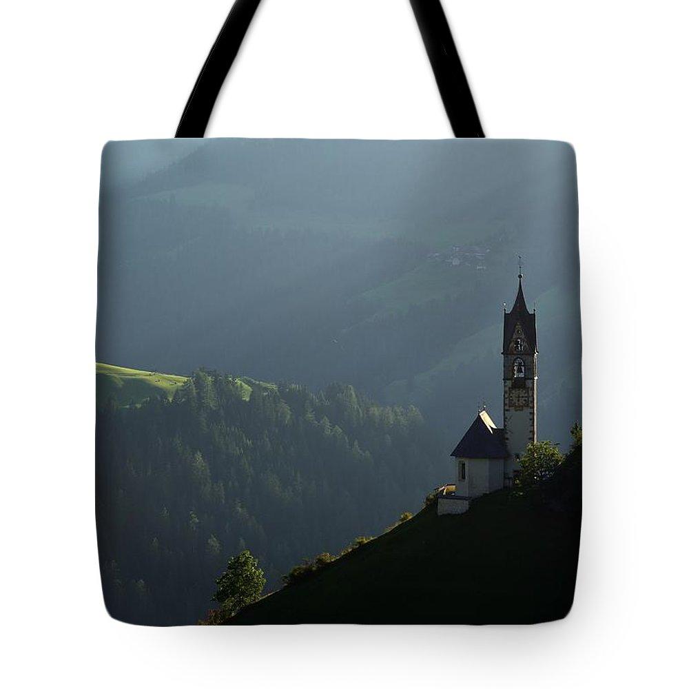Landscape Tote Bag featuring the photograph Church In Alta Badia by Massimo Battaglia