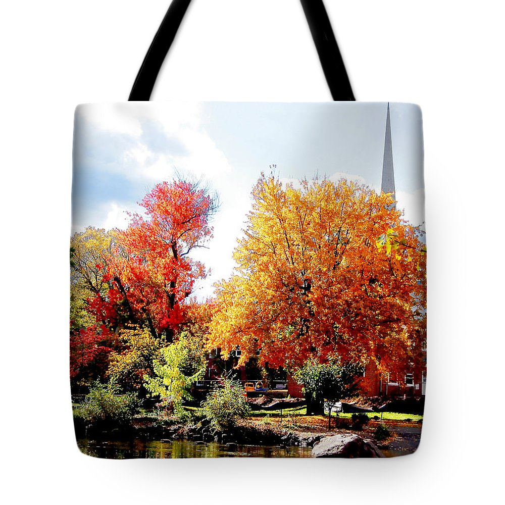 Autumn Tote Bag featuring the photograph Church In The Distance In Autumn by Susan Savad
