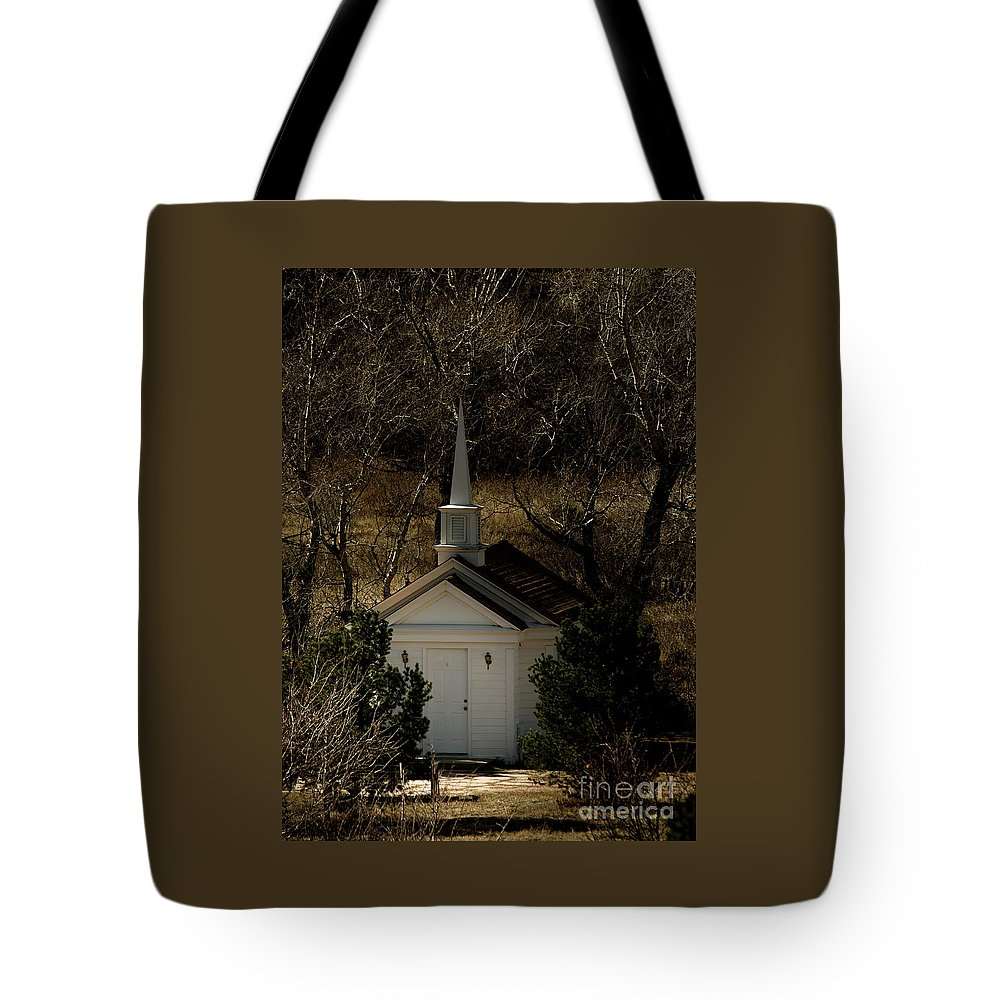 Colorado Springs Tote Bag featuring the photograph Church In The Garden by Jennifer Mitchell