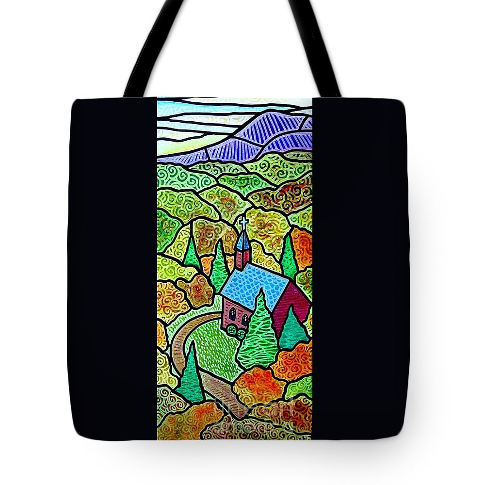 Church Tote Bag featuring the painting Church In The Wildwood by Jim Harris