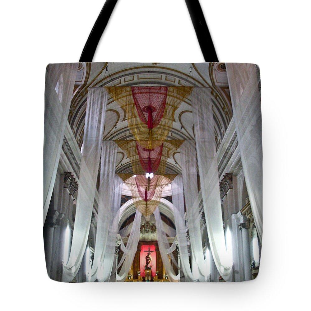 Church Tote Bag featuring the photograph Church Interior 1 Guatemala by Douglas Barnett