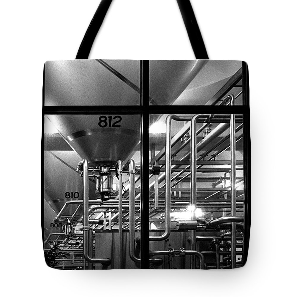 Black And White Tote Bag featuring the photograph Church Of Modern Man by Peter Piatt