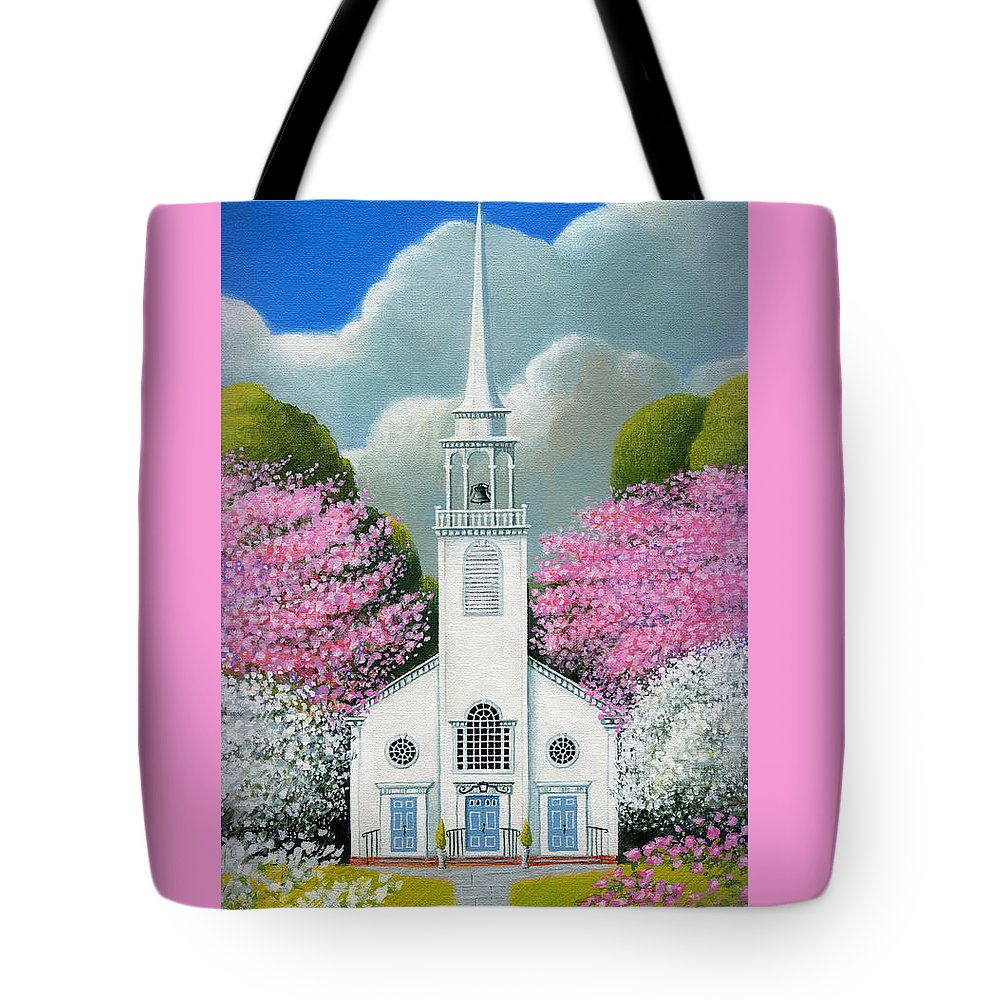 Deecken Tote Bag featuring the painting Church Of The Dogwoods by John Deecken