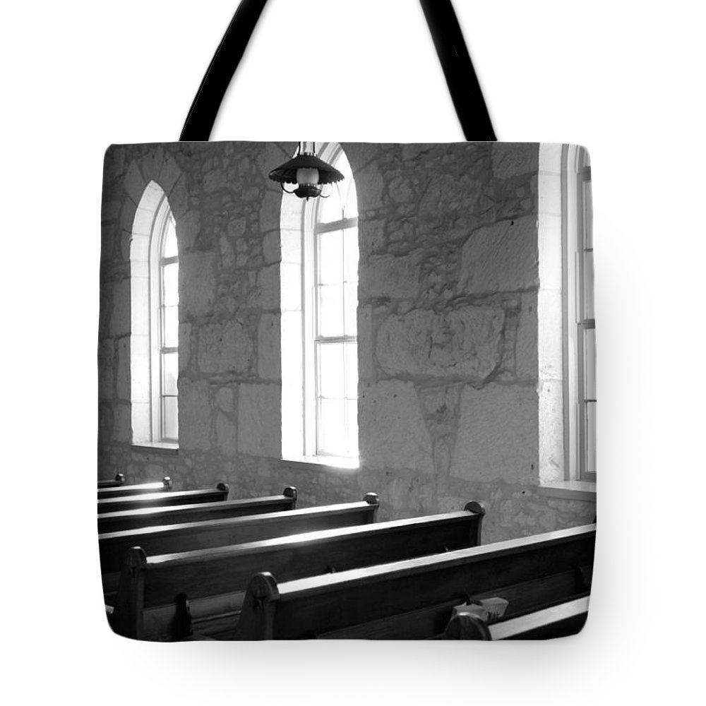 Black And White Tote Bag featuring the photograph Church Pews Black And White by Jill Reger