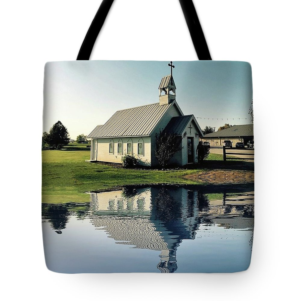 Reflection Tote Bag featuring the photograph Church Reflection by Doris Aguirre