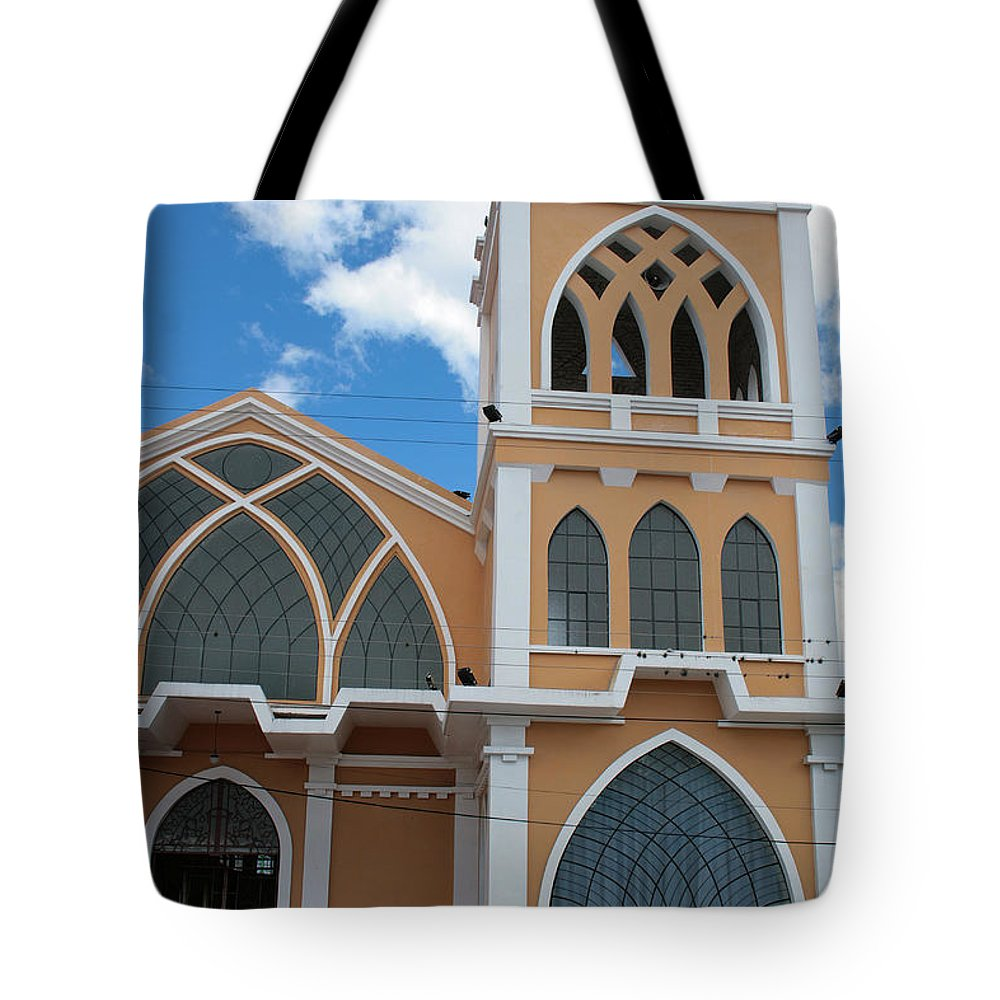 Door Tote Bag featuring the photograph Church Steeple In Ibarra by Robert Hamm