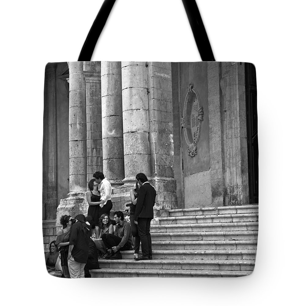 Church Tote Bag featuring the photograph Church Step Lovers by Madeline Ellis