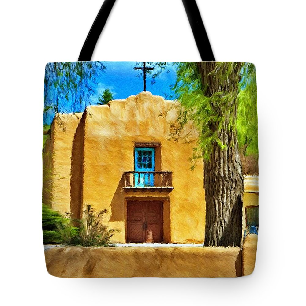 Chapel Tote Bag featuring the painting Church With Blue Door by Jeffrey Kolker