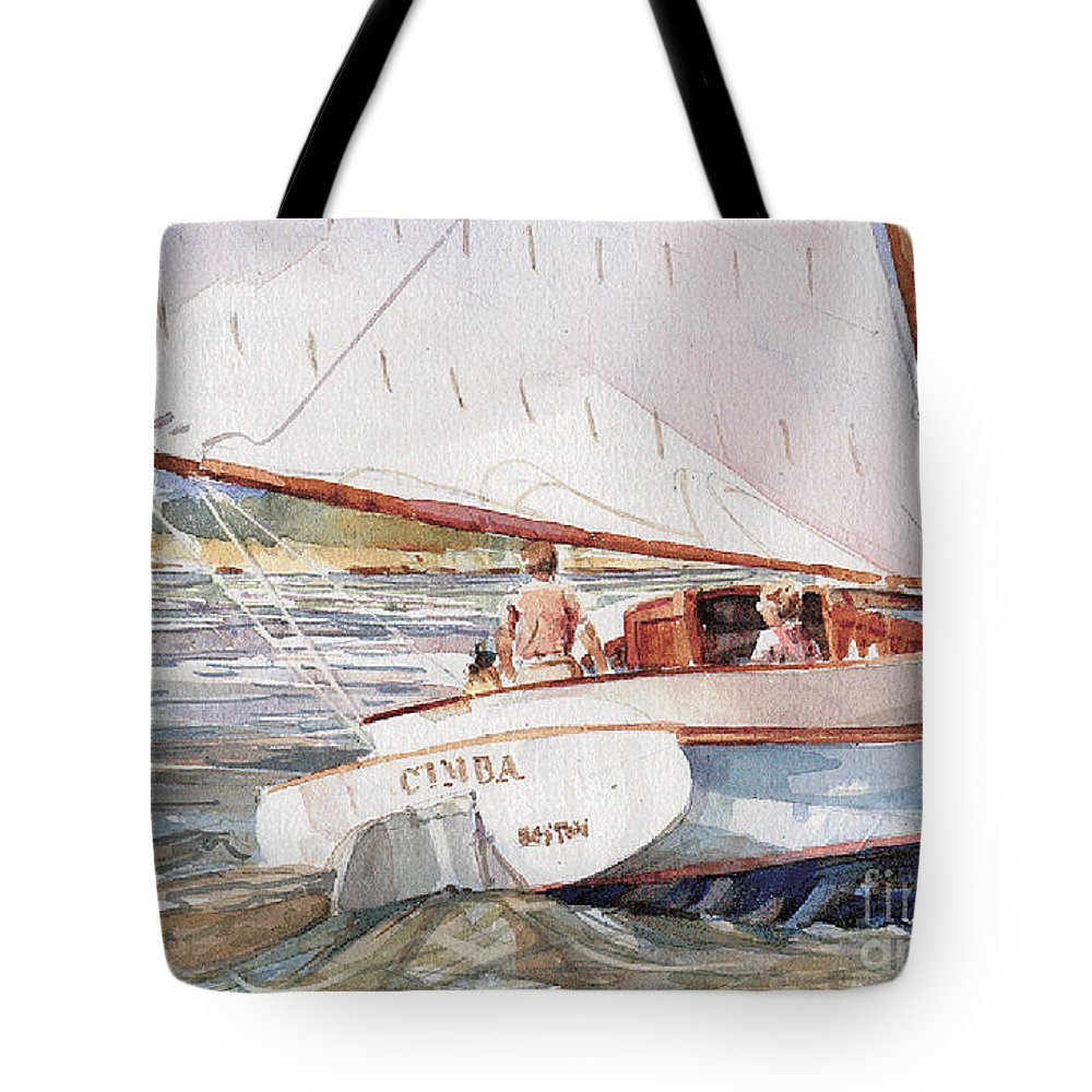Cat Boat Tote Bag featuring the painting Cimba -the Cat by P Anthony Visco