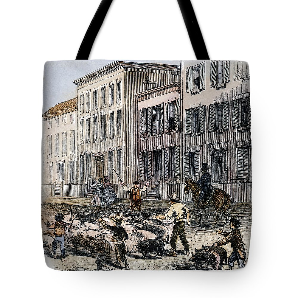 1860 Tote Bag featuring the photograph Cincinnati Hog Herding by Granger