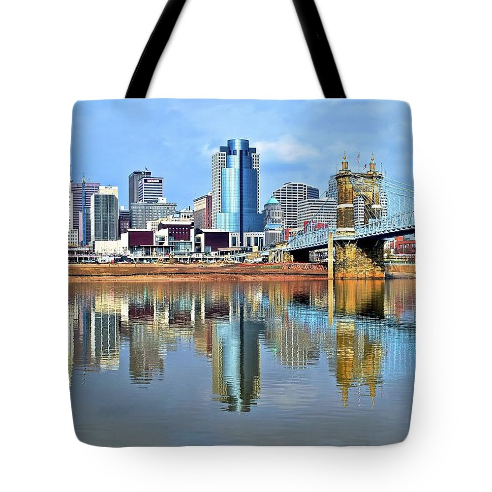 Cincinnati Tote Bag featuring the photograph Cincinnati Ohio Times Two by Frozen in Time Fine Art Photography