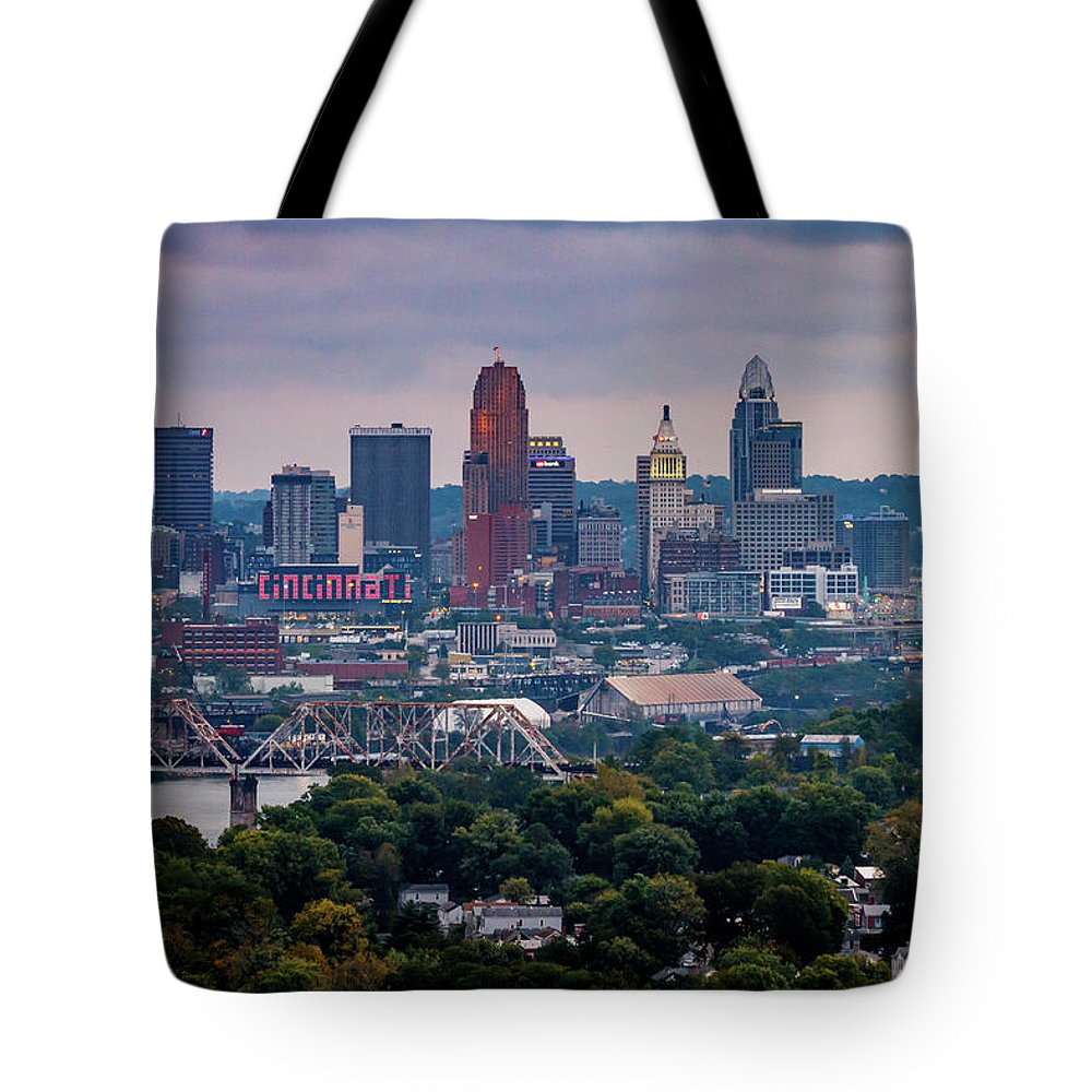 Clouds Tote Bag featuring the photograph Cincinnati Skyline by Andrew Johnson