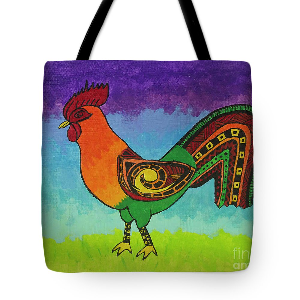 Rooster Tote Bag featuring the painting Cinco De Mayo by Tami Maldonado
