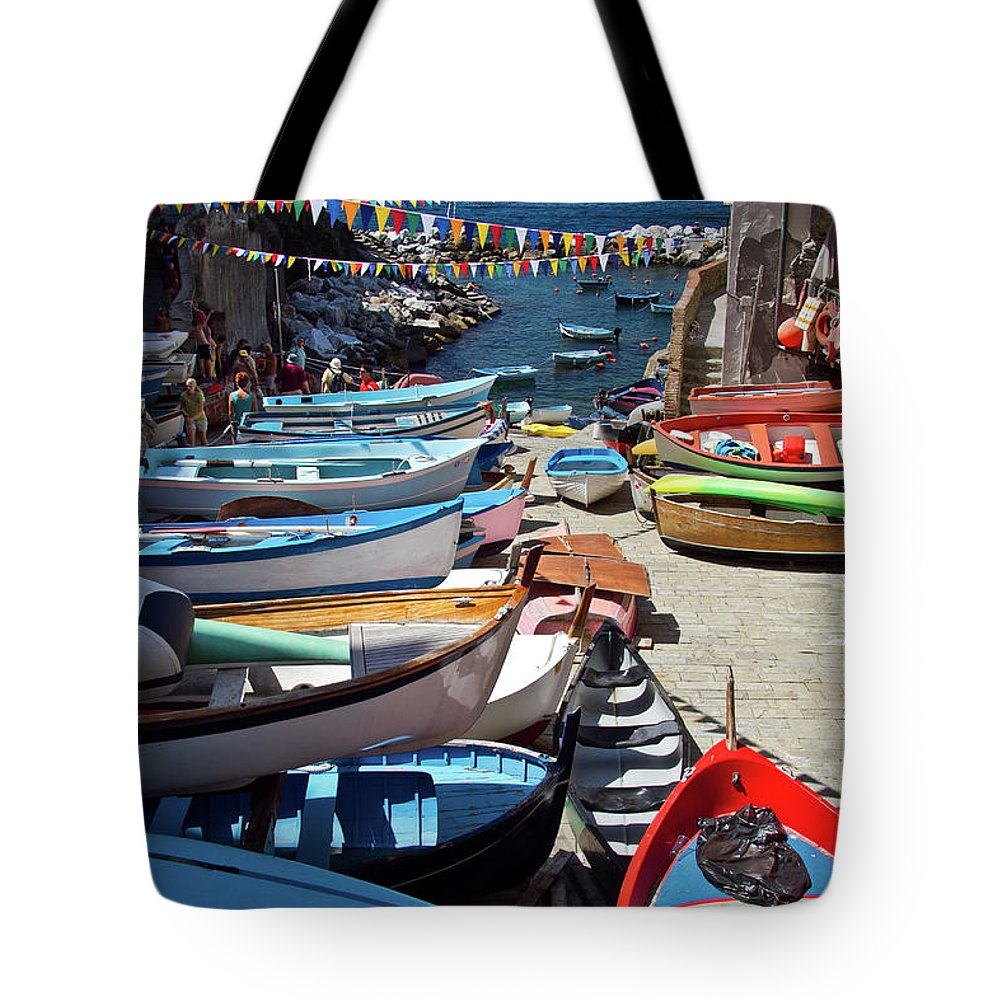 Cinque Tote Bag featuring the photograph Cinque Terre Skiffs by Roger Mullenhour