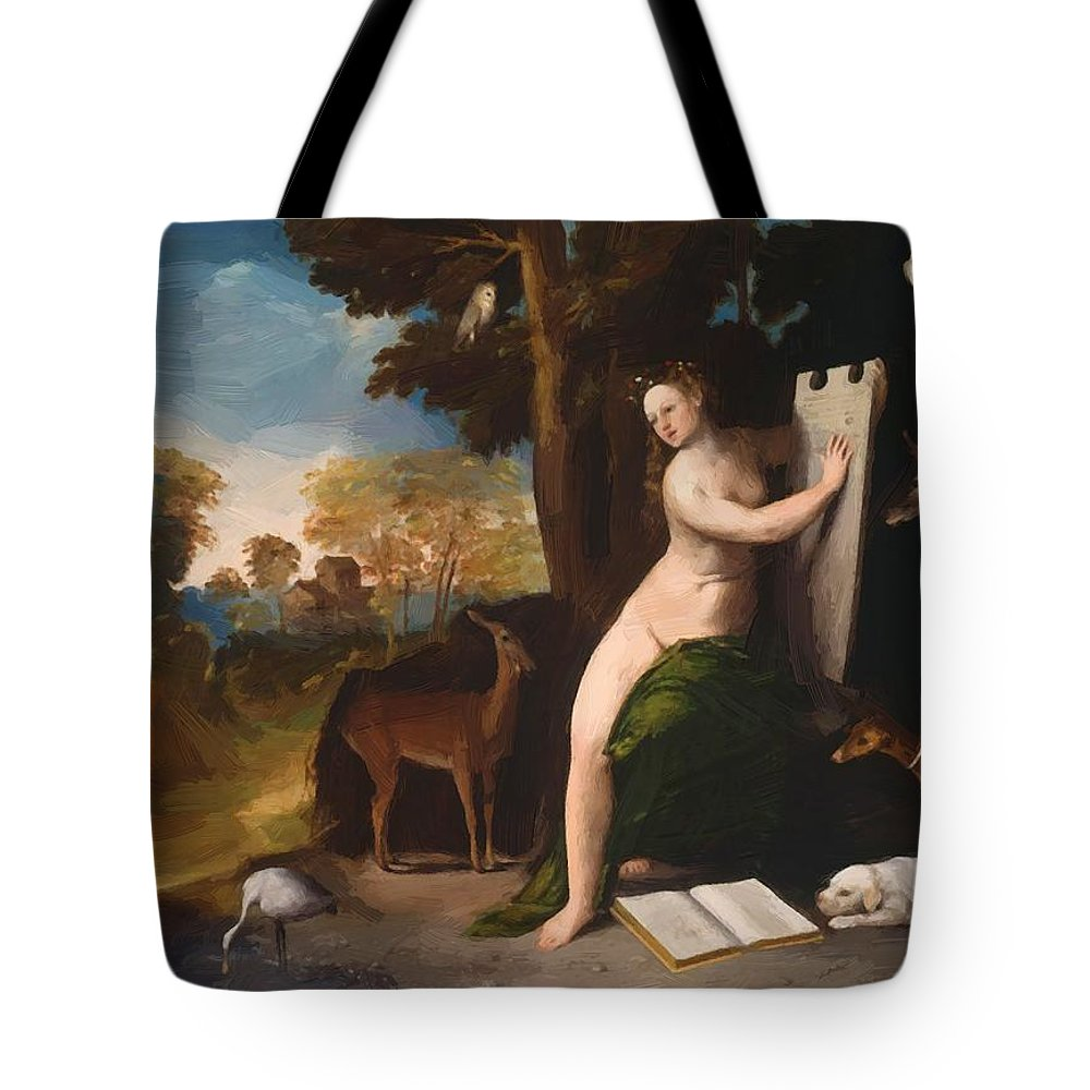 Circe Tote Bag featuring the painting Circe And Her Lovers In A Landscape 1516 by Dossi Dosso