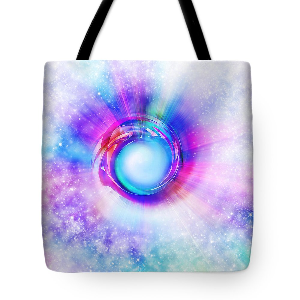 Space Tote Bag featuring the painting Circle Eye by Setsiri Silapasuwanchai