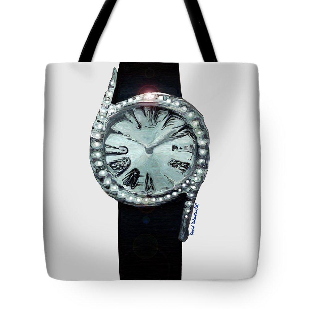 Circle Of Diamonds Tote Bag featuring the digital art Circle Of Diamonds Timepiece by David Valentine