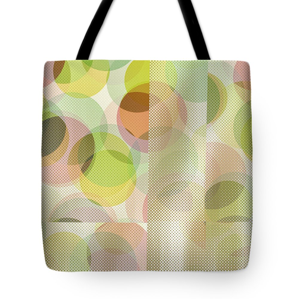 Abstract Tote Bag featuring the digital art Circle Pattern Overlay II by Ruth Palmer