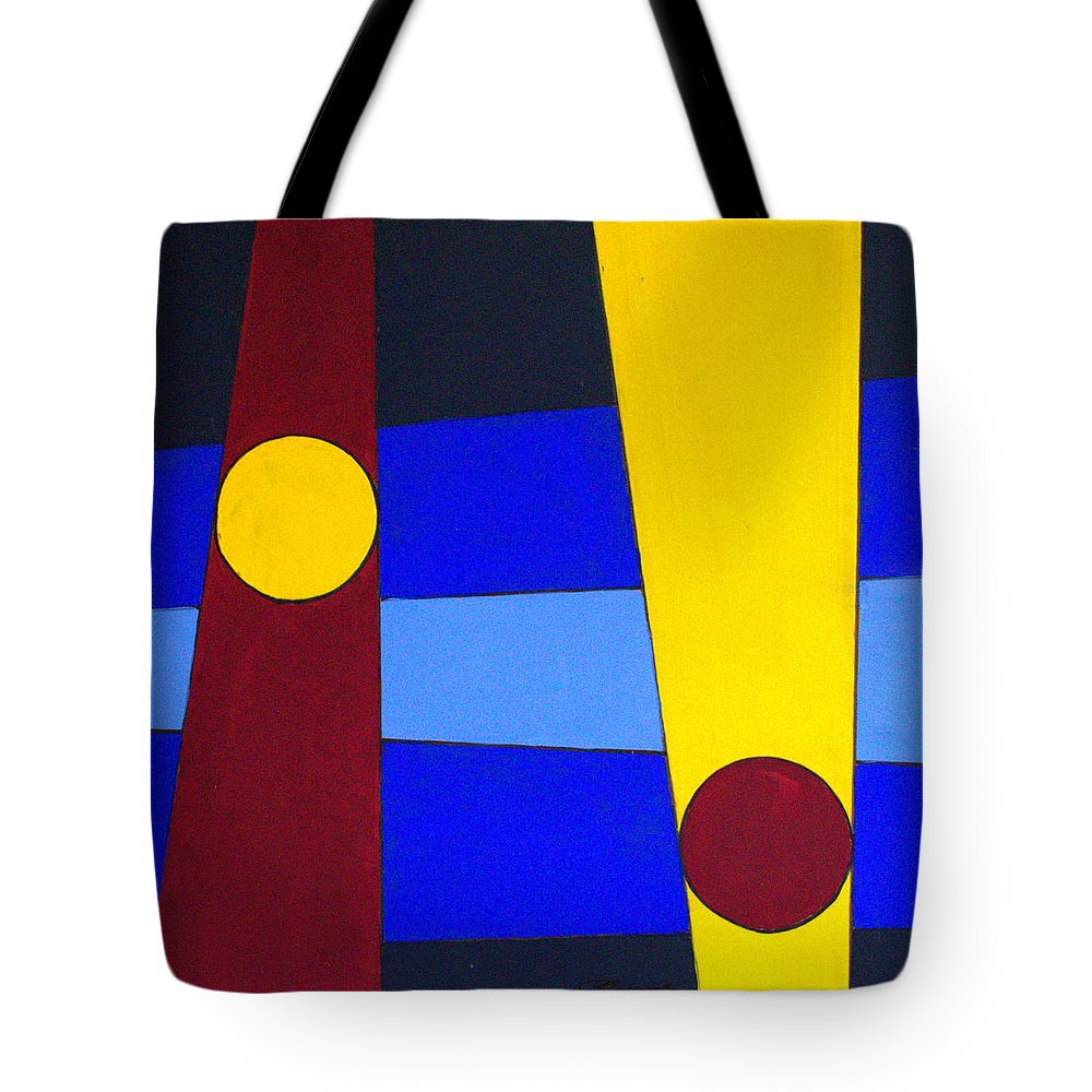Abstract Tote Bag featuring the painting Circles Lines Color by J R Seymour