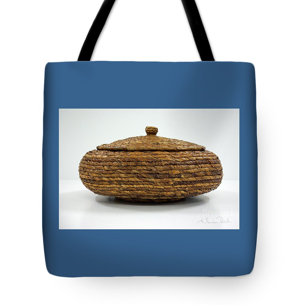 Banana Tote Bag featuring the mixed media Circular Bound by Kerryn Madsen-Pietsch