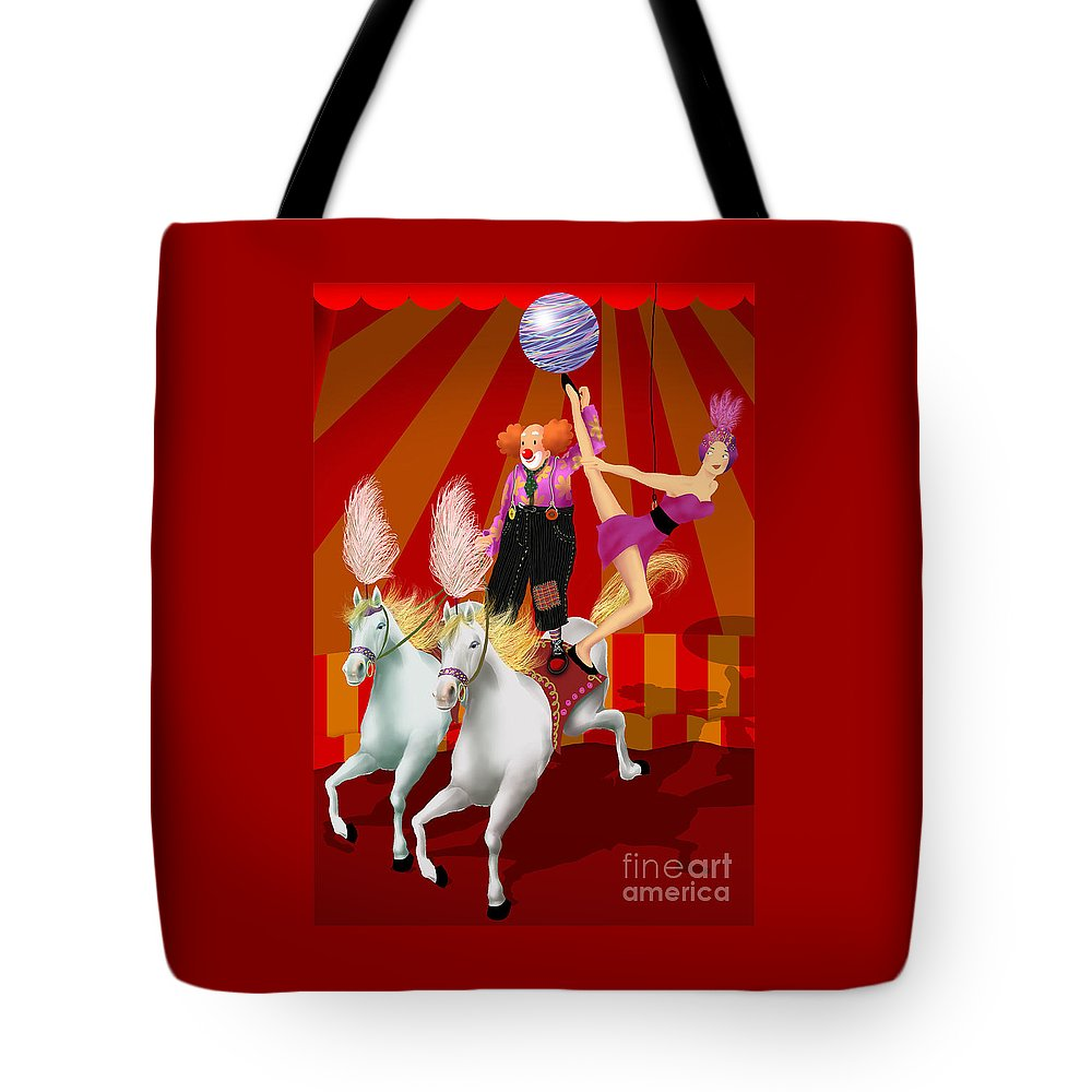 Circus Tote Bag featuring the digital art Circus 1 by Ursula Koehrer