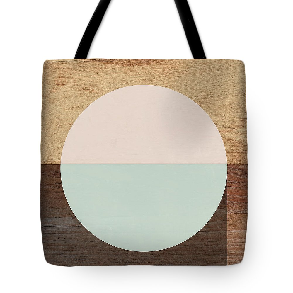 Modern Tote Bag featuring the mixed media Cirkel in Peach and Mint- Art by Linda Woods by Linda Woods