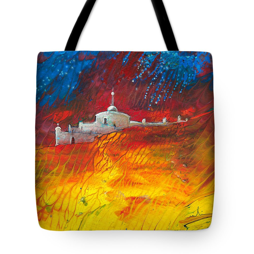 Landscapes Tote Bag featuring the painting Citadelle Andalouse by Miki De Goodaboom