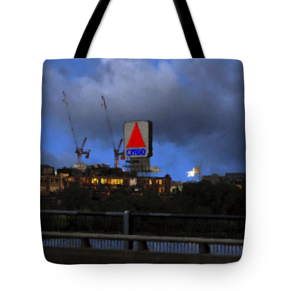 Citgo Sign Tote Bag featuring the digital art Citgo Sign by Edward Cardini