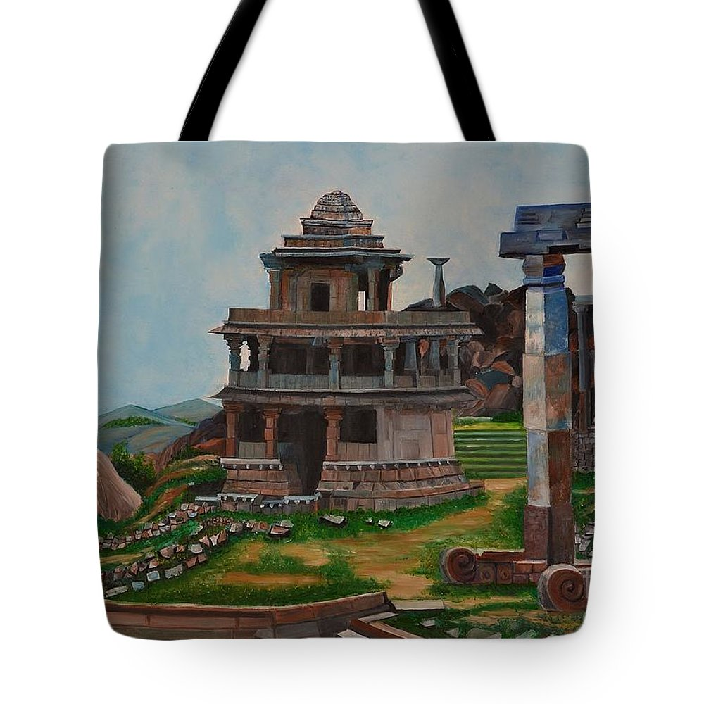 Landscape Tote Bag featuring the painting Cithradurga Fort by Usha Rai