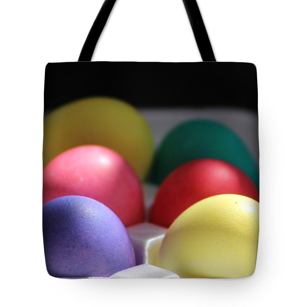 Dye Tote Bag featuring the photograph Citrus and Ultra Violet Easter Eggs by Colleen Cornelius