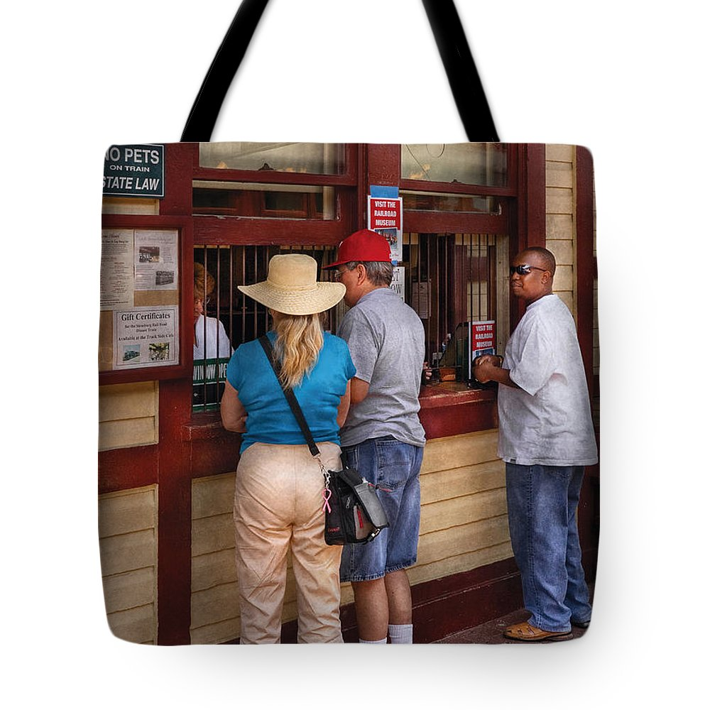 Savad Tote Bag featuring the photograph City - Lancaster Pa - The Train Station by Mike Savad